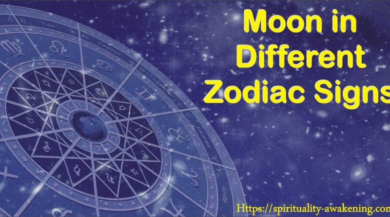Moon in different zodiac signs